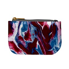 Blue Red White Marble Pattern Mini Coin Purses by Costasonlineshop