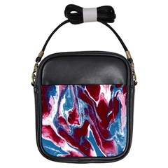 Blue Red White Marble Pattern Girls Sling Bags by Costasonlineshop