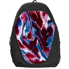Blue Red White Marble Pattern Backpack Bag by Costasonlineshop