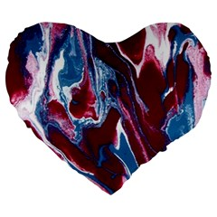 Blue Red White Marble Pattern Large 19  Premium Flano Heart Shape Cushions by Costasonlineshop
