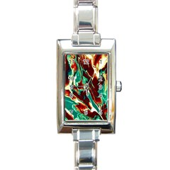 Brown Beige Marble Pattern Rectangle Italian Charm Watches by Costasonlineshop