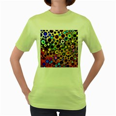 Colourful Circles Pattern Women s Green T Shirt by Costasonlineshop