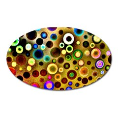 Colourful Circles Pattern Oval Magnet by Costasonlineshop