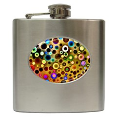 Colourful Circles Pattern Hip Flask (6 Oz) by Costasonlineshop