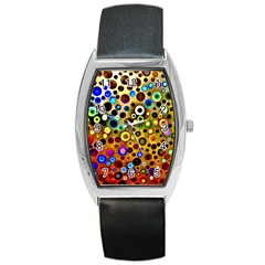 Colourful Circles Pattern Barrel Metal Watches by Costasonlineshop