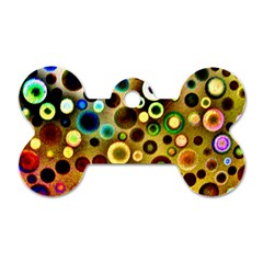 Colourful Circles Pattern Dog Tag Bone (two Sides) by Costasonlineshop