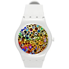 Colourful Circles Pattern Round Plastic Sport Watch (m) by Costasonlineshop