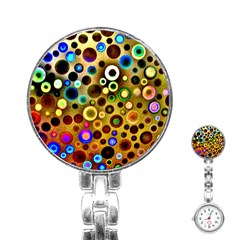 Colourful Circles Pattern Stainless Steel Nurses Watches by Costasonlineshop