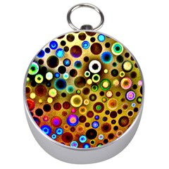 Colourful Circles Pattern Silver Compasses by Costasonlineshop