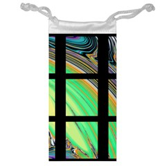 Black Window With Colorful Tiles Jewelry Bags by digitaldivadesigns