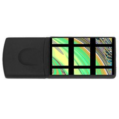 Black Window With Colorful Tiles Usb Flash Drive Rectangular (4 Gb)  by digitaldivadesigns