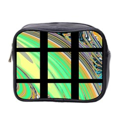 Black Window With Colorful Tiles Mini Toiletries Bag 2 Side by digitaldivadesigns