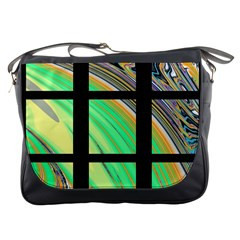 Black Window With Colorful Tiles Messenger Bags by digitaldivadesigns
