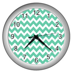 Chevron Pattern Gifts Wall Clocks (silver)  by creativemom