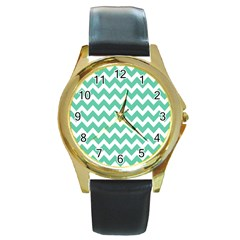 Chevron Pattern Gifts Round Gold Metal Watches