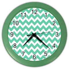 Chevron Pattern Gifts Color Wall Clocks