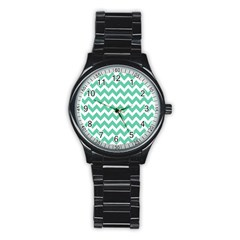 Chevron Pattern Gifts Stainless Steel Round Watches