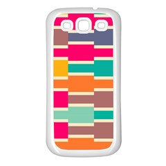 Connected Colorful Rectangles			samsung Galaxy S3 Back Case (white) by LalyLauraFLM