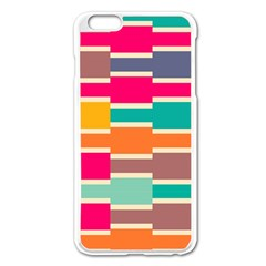 Connected Colorful Rectangles			apple Iphone 6 Plus/6s Plus Enamel White Case by LalyLauraFLM