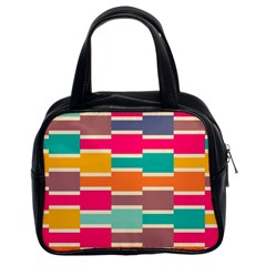 Connected Colorful Rectangles Classic Handbag (two Sides) by LalyLauraFLM
