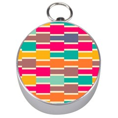 Connected Colorful Rectangles Silver Compass by LalyLauraFLM