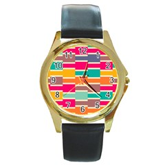 Connected Colorful Rectangles			round Gold Metal Watch by LalyLauraFLM