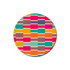 Connected Colorful Rectangles			rubber Round Coaster (4 Pack) by LalyLauraFLM