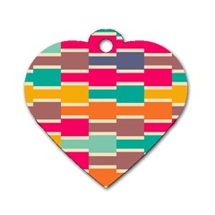 Connected Colorful Rectangles			dog Tag Heart (one Side) by LalyLauraFLM