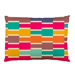 Connected Colorful Rectangles			pillow Case by LalyLauraFLM