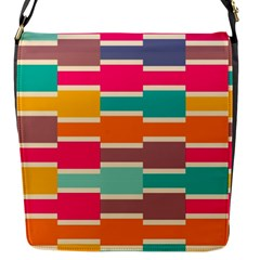Connected Colorful Rectangles			flap Closure Messenger Bag (s) by LalyLauraFLM