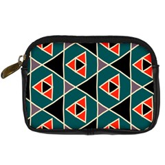 Triangles In Retro Colors Pattern 	digital Camera Leather Case by LalyLauraFLM