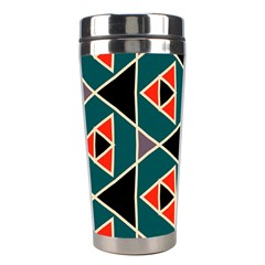 Triangles In Retro Colors Pattern Stainless Steel Travel Tumbler by LalyLauraFLM