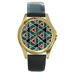 Triangles In Retro Colors Pattern			round Gold Metal Watch by LalyLauraFLM