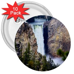 Yellowstone Waterfall 3  Buttons (10 Pack)  by trendistuff