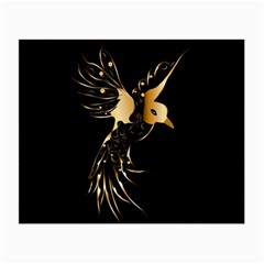 Beautiful Bird In Gold And Black Small Glasses Cloth (2 Side)