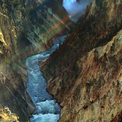 Yellowstone Lower Falls Magic Photo Cubes by trendistuff