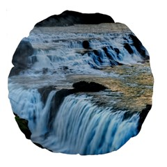 Gullfoss Waterfalls 2 Large 18  Premium Round Cushions by trendistuff