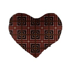 Check Ornate Pattern Standard 16  Premium Flano Heart Shape Cushions by dflcprints