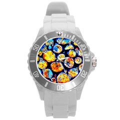Woodpile Abstract Round Plastic Sport Watch (l) by Costasonlineshop