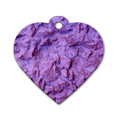Purple Wall Background Dog Tag Heart (one Side)