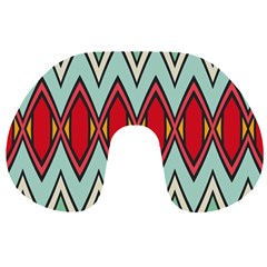 Rhombus And Chevrons Pattern Travel Neck Pillow by LalyLauraFLM