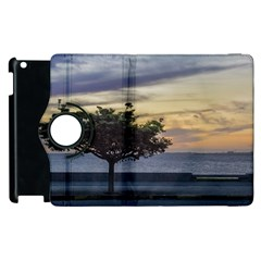 Sunset Scene At Boardwalk In Montevideo Uruguay Apple Ipad 2 Flip 360 Case by dflcprints