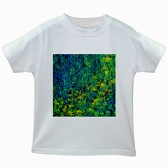 Flowers Abstract Yellow Green Kids White T Shirts by Costasonlineshop