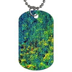 Flowers Abstract Yellow Green Dog Tag (one Side) by Costasonlineshop
