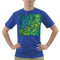 Flowers Abstract Yellow Green Dark T Shirt by Costasonlineshop