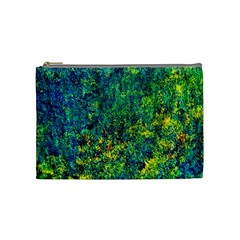 Flowers Abstract Yellow Green Cosmetic Bag (medium)  by Costasonlineshop