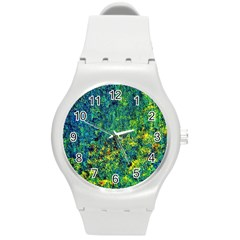 Flowers Abstract Yellow Green Round Plastic Sport Watch (m) by Costasonlineshop