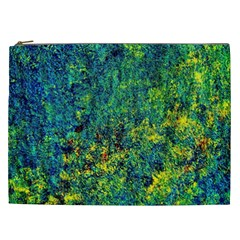 Flowers Abstract Yellow Green Cosmetic Bag (xxl)
