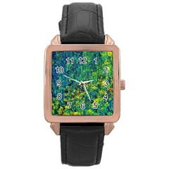 Flowers Abstract Yellow Green Rose Gold Watches by Costasonlineshop