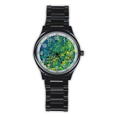 Flowers Abstract Yellow Green Stainless Steel Round Watches by Costasonlineshop